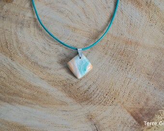 Ceramic necklace, ceramic jewelry, porcelain, leather cord, colored clay,  white, tangerine, blue-green, stainless steel, handmade