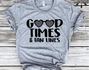Good Times & Tan Lines T-shirt, Pool Shirt, Beach T-shirt, Vacation T-shirt, Aloha Beaches, Getaway, Cruise Shirt, FREE SHIP