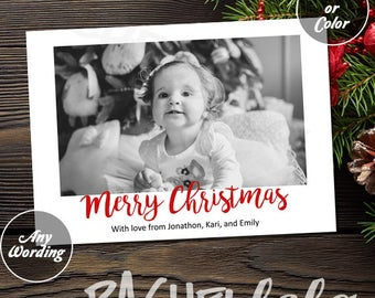 Christmas Card with photo, Black and White with red Merry Christmas, Printable