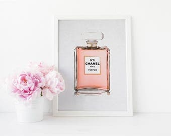 Chanel Perfume Bottle Watercolor - Digital Download Instant Print - Rose Gold - Coco Chanel - Watercolor Art Print - Watercolor Fashion