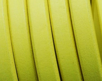 "LIQUIDATION: - Per 8"" Neon Yellow Licorice Leather finding, jewelry supplies,"