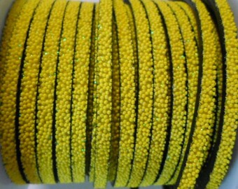 """SALE: 8"""" Sunny Yellow 5mm Flat Caviar Synthetic Leather Cord Strap"""