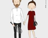 Custom wedding portrait, wedding illustration, couple portrait, bespoke illustration