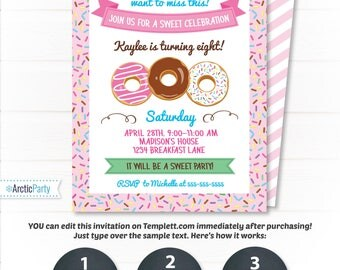 Donut Party Invitations - Donut Themed Party Invitation - Donut Party Supplies - Donut Birthday - INSTANT Access to Files! - Edit from Home