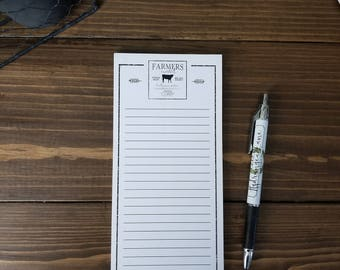 farmers market magnetic notepad. grocery list. to do list. stationery. farmhouse style. notepad with magnet.