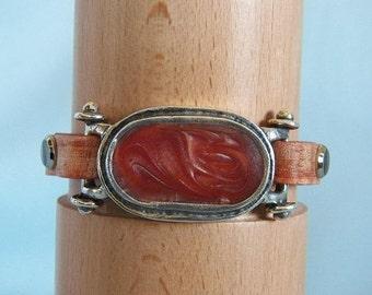 Curved Sienna Enamel Connector & Vintage Burnt Orange Leather Bracelet