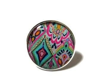 Ring - vintage ring - statement ring - round ring - colorful ring - colorful statement ring - bohemian ring - boho ring - boho jewellery