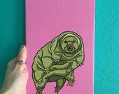 Pop Art Tardigrade Painting, Original Hand-Painted Tardigrade Art, Art for Weirdos, Pop Art for Animal Geeks, Affordable Water Bear Art