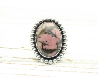 Pink Rhodonite Gemstone Ring Sterling Silver JMK size 7.5