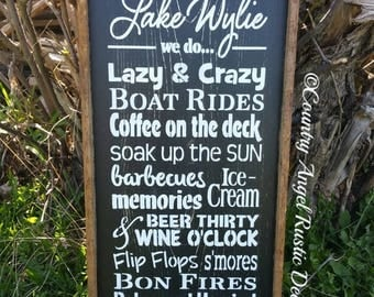 """At the LAKE  Personalized with your lake name rustic typography/subway wood sign 12""""x24"""", Lake Sign, Cottage Sign, Cabin Decor, Deck Sign"""