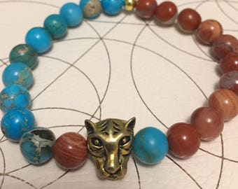 Brecciated & Imperial Jasper Bracelet with Lioness bead!Gift for your girlfriend.