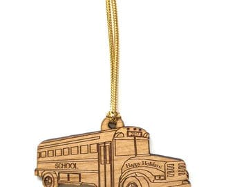 Wood School Bus Ornament