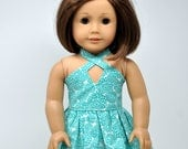 Teal Floral Print Sleeveless Dress made to fit American Girl Doll 18 Inch Doll Clothes
