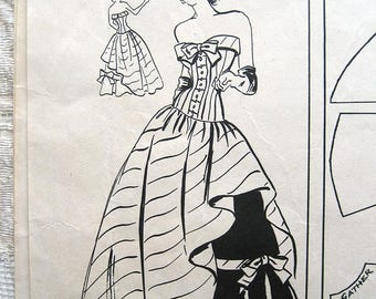 """Vintage 50s Dramatic Strapless Evening Gown. Modes Royale 338 Sewing Pattern. Size Size 14 Bust 32"""""""