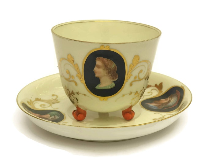 Antique French Porcelain Tea Cup and Saucer Set with Medallion Portraits. Antique China Teacup with Three Legs. Tea Cup Collection.