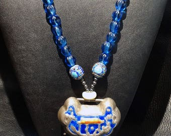Antique Chinese Necklace, Reversible Enamel Lock Pendant and Beads Peking Glass 1800s