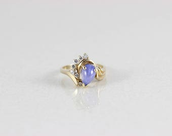 14k Yellow Gold Natural Blue Star Sapphire Ring and Diamond Ring Size 6