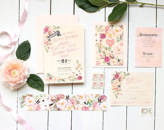 Featured listing image: Floral Wedding Invitation Suite - Boho Invites for Spring or Summer Rustic Wedding - Garden Wedding - Printable or Printed