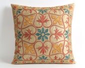 sofa pillow, uzbek embroidery, 18x18 silk pillow covers