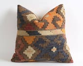 Boho throw kilim pillow cover (scratchy kilim) vintage decor moroccan kelim pillow 16x16 handmade pillow