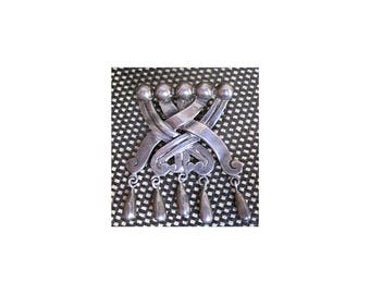 Taxco Sterling Silver Brooch / Hector Aguilar Silver Brooch Pin / 1950s Vintage Sterling Silver
