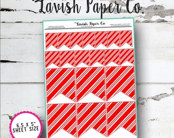 Candy Cane Mixed Box Flag Planner Stickers by Lavish Paper Co. | for Erin Condren, Happy Planner, inkWell Press, SewMuchCrafting
