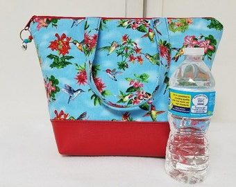Bird Lunch Bag, Vinyl Bottom, Insulated Lunch Box, Womens Lunch Bag with Birds, Humming Birds, Nylon Liner, Zipper Pocket, Washable Bag.