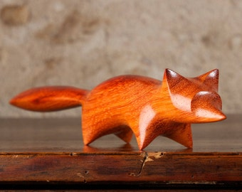 Red Fox Sculpture Hand Carved From Padauk Padouk Wood by Perry Lancaster, Original Carving Fox Design Figurine