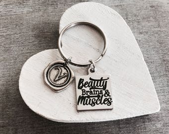 Beauty brains, and muscles, Training, Work out, Weight lifter, weights, Crossfit, Athlete, bodybuilder, Fitness, Silver Keychain, Gifts