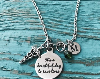 Its a beautiful day, to save lives, Silver Necklace, RN,CNA, BSN, Lpn, Nurse Graduation, Nurse Gift, Medical Charm,Caduceus, Silver Charm
