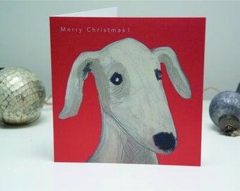 Dog Merry Christmas card Lurcher Greyhound Whippet Bedlington Terrier