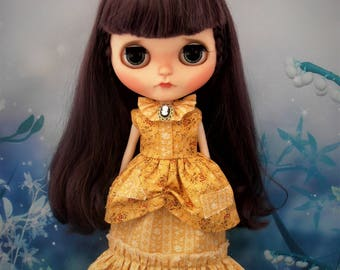 Blythe Dress Victorian Inspired Cinderella in Rags Golden Yellow Wild Orchid Blythe Doll Clothes Outfit Pure Neemo S Licca