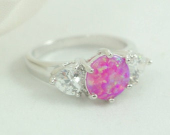 Pink Fire Opal Ring, Pink Opal Ring, Large Round Pink Opal Stone Ring 6.5, Fire Opal Jewelry, Pink Opal and CZ Crystal Ring Multi-stone Opal