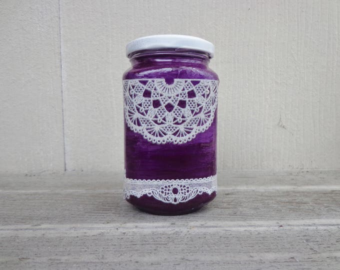 Featured listing image: Ultra Violet Purple and Gothic White Lace Unique Stash Jar One of a Kind Handpainted Upcycled Glass Nug Jug by thriftalina