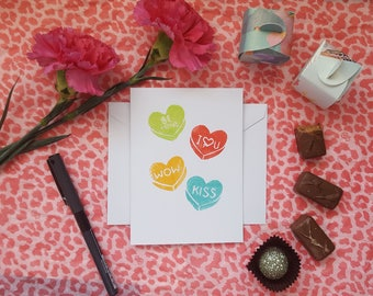 Candy Hearts Linocut Card