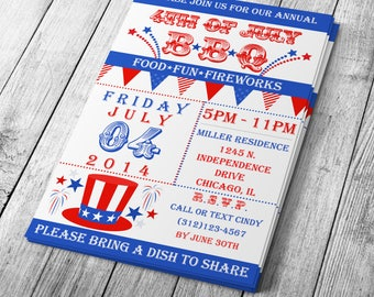 DIY (Do-It-Yourself) Vintage 4th of July Invitation - Editable Template - Microsoft Word Format