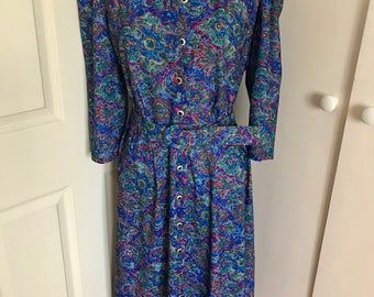 Vintage 1980s Blue Paisley Print Belted Dress - Size 8 to 10