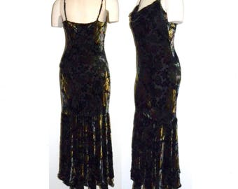 1990s 90's Burnout Velvet Evening Gown / Fitted Asymmetrical Hem / Jewel Tone Black Maxi Dress Vintage size 10