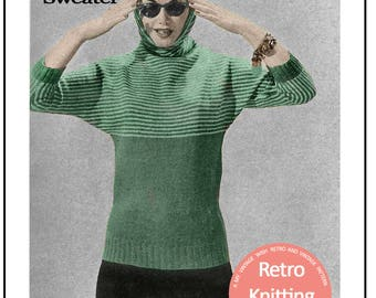 1950's Women's Hoodie Sweater Knitting Pattern  - PDF Instant Download