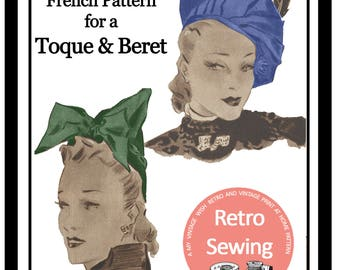 1930s Vintage French Sewing Pattern - Hat & Beret - PDF Sewing Pattern - Instant Download