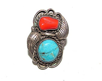 Navajo Old Pawn Sterling Silver Blue Gem Mine Turquoise Coral Ring Size 6 Squash Blossom Design