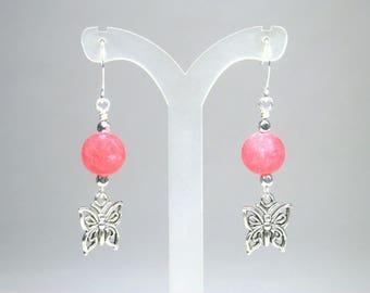 Pink Butterfly Earrings - Single Bead Earrings - Pink Dangle Earrings - Pink and Silver - Butterfly Charm - Summer Earrings - Pink Earrings
