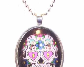 2 inch long  Day of the Dead Skull  Pendant Necklace with Glass Dome and Beaded Chain   Day of the Dead Skull