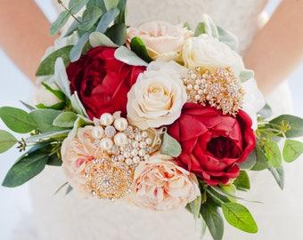 Custom Blush Burgundy Silk Flower Gold Brooch Bouquet, Pearl and Rose Bridal Bouquet, Pearl Brooch - Wedding Bouquet - 9 inch