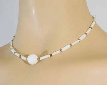White Beaded Choker, Summer Necklace, Small Silver Beads, Hippie Jewelry, Vintage Costume Jewelry