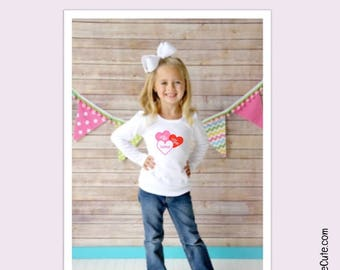 "Valentines Day Girls Shirt - Embroidered 3 Heart Applique Design on White Long Sleeve Shirt with ""Hug Me, Luv You, XOXOXO"""