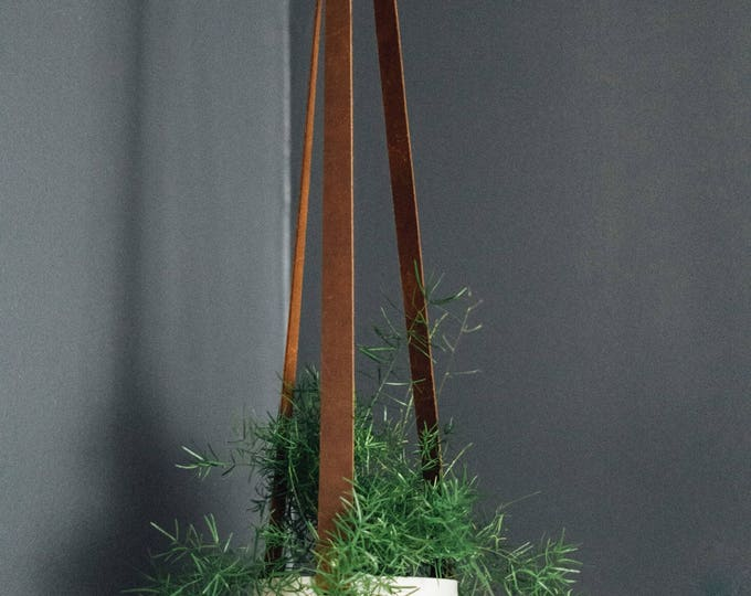 Large Hanging Planter - Ceramic and Leather - Brown Stapped Leather - Handmade - KJ Pottery