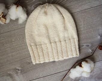 Men's or Women's Ivory Denim Knitted Beanie