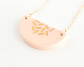 Semicircle Necklace, Color Block Necklace, Gold Gift for Her, Patterned Necklace, Colorful Ceramic Necklace, Geometric Jewelry under 70