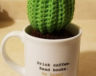 Crocheted Small Barrel Cactus With Flower - Planted In A Coffee Mug - READY TO SHIP